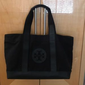 Tory Burch black canvas tote